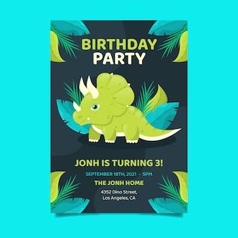 Invitation d'anniversaire de dinosaure plat bio