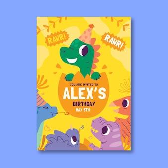 Invitation d'anniversaire de dinosaure de style dessiné à la main