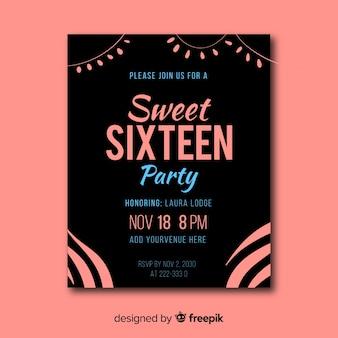 Invitation d'anniversaire douce de seize ans