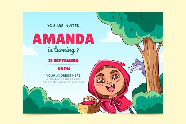 Invitation d'anniversaire du petit chaperon rouge dessiné à la main