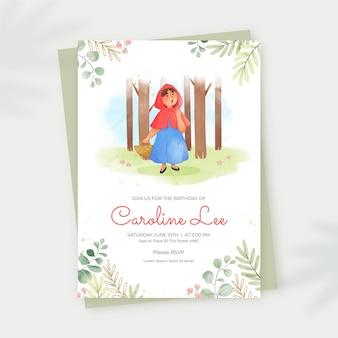 Invitation d'anniversaire du petit chaperon rouge peinte à la main