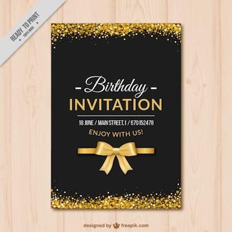 Invitation d'anniversaire élégante avec des détails dorés