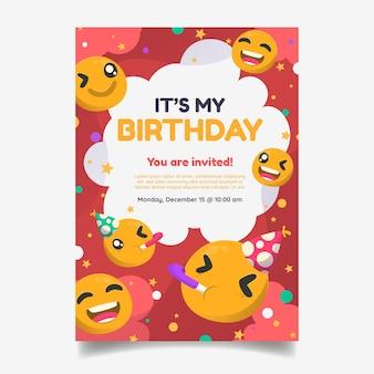 Invitation d'anniversaire d'emoji de dessin animé