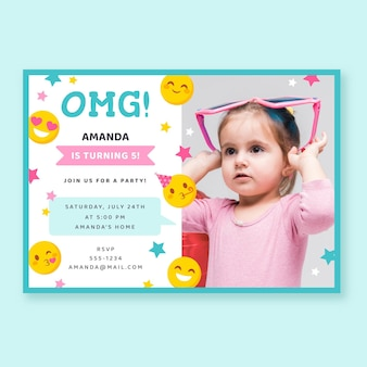 Invitation d'anniversaire emoji plat avec photo