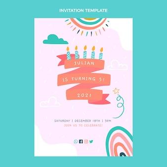 Invitation d'anniversaire enfantine dessinée à la main