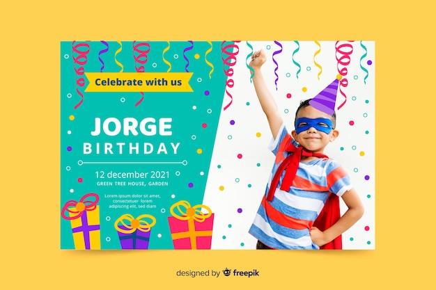 Invitation d'anniversaire enfants modèle avec image