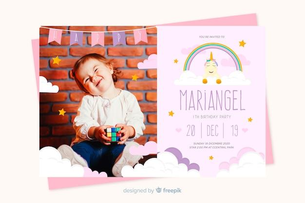Invitation anniversaire enfants modèle avec image
