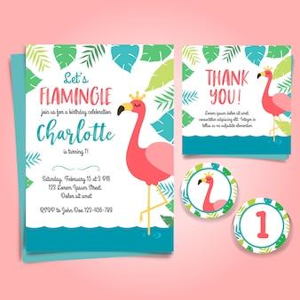 Invitation d'anniversaire de flamingo, fête de piscine