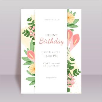 Invitation d'anniversaire floral aquarelle