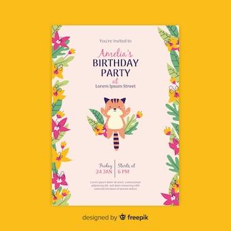 Invitation d'anniversaire floral modèle