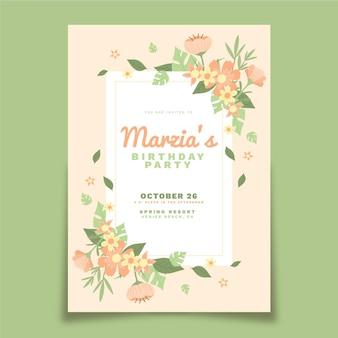 Invitation d'anniversaire floral