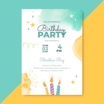 Invitation d'anniversaire de formes abstraites aquarelle