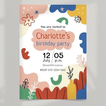 Invitation d'anniversaire de formes abstraites dessinées à la main