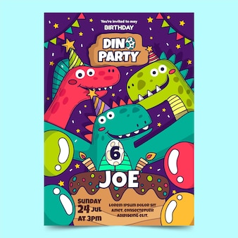 Invitation d'anniversaire d'illustration de dinosaure dessiné à la main