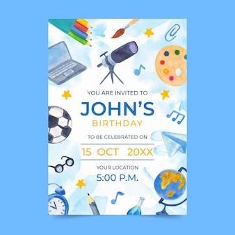 Invitation d'anniversaire illustrée de retour à l'école