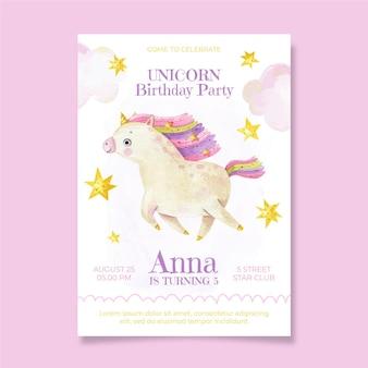 Invitation d'anniversaire de licorne aquarelle peinte à la main