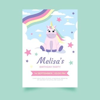 Invitation d'anniversaire de licorne de dessin animé