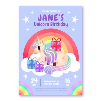 Invitation d'anniversaire de licorne dessiné à la main