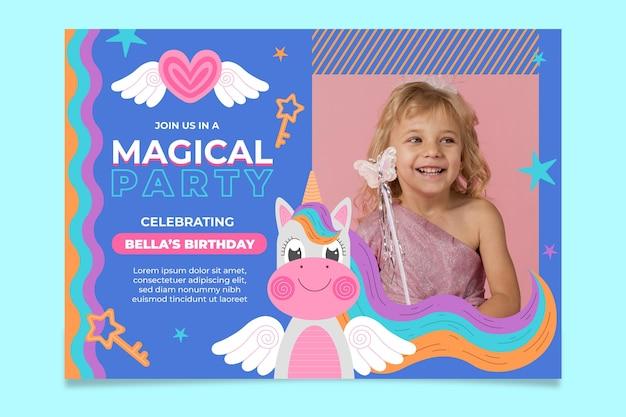 Invitation d'anniversaire de licorne avec photo
