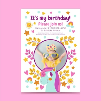 Invitation d'anniversaire de licorne plate avec photo
