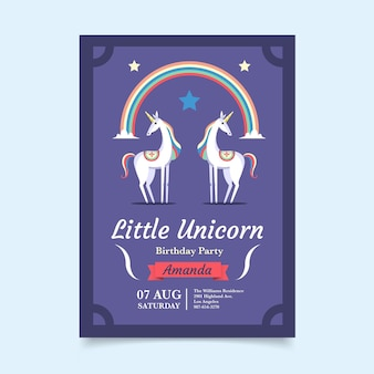 Invitation d'anniversaire de licorne plate