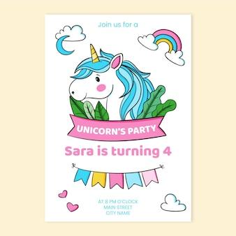 Invitation d'anniversaire de licorne pour enfants