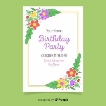 Invitation anniversaire modèle floral
