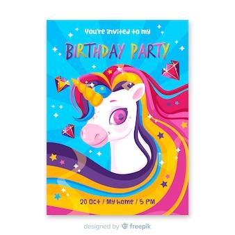 Invitation d'anniversaire de modèle pour les enfants