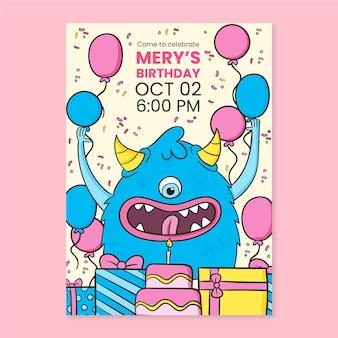 Invitation d'anniversaire de monstres dessinés à la main