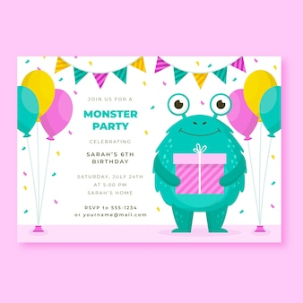 Invitation d'anniversaire de monstres plats