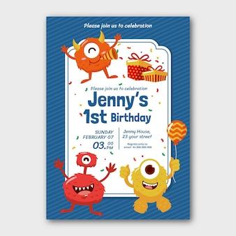 Invitation d'anniversaire de monstres de style dessiné à la main