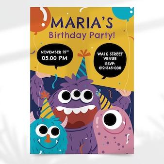 Invitation d'anniversaire de monstres