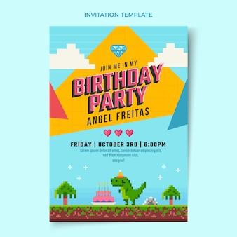 Invitation d'anniversaire nostalgique au design plat des années 90