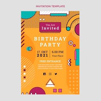 Invitation d'anniversaire nostalgique à plat des années 90