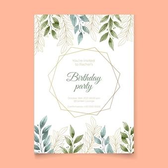 Invitation d'anniversaire avec ornements floraux