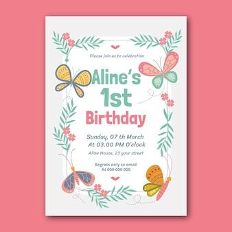 Invitation d'anniversaire papillon dessiné à la main
