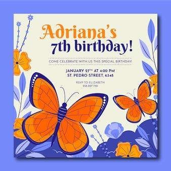 Invitation d'anniversaire papillon plat