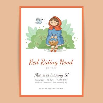 Invitation d'anniversaire de petit chaperon rouge dessiné à la main