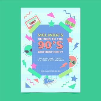Invitation d'anniversaire plat nostalgique des années 90 dessinée à la main