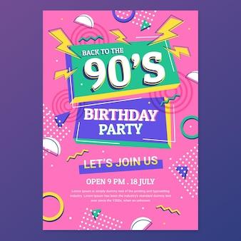Invitation d'anniversaire plat nostalgique des années 90
