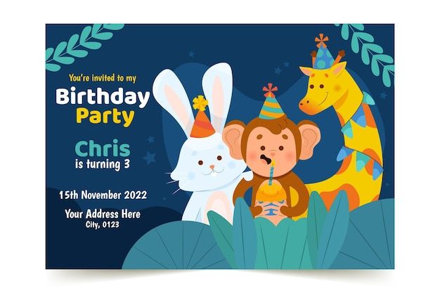 Invitation d'anniversaire pour enfants design plat