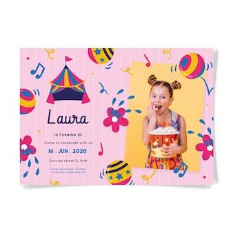 Invitation d'anniversaire pour enfants avec photo