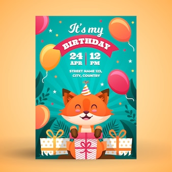 Invitation d'anniversaire pour enfants plats bio