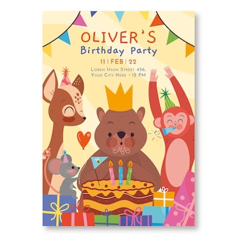 Invitation d'anniversaire pour enfants plats