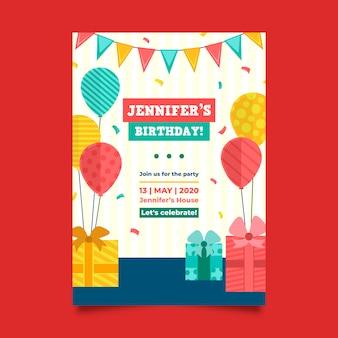 Invitation d'anniversaire pour le thème du modèle pour enfants