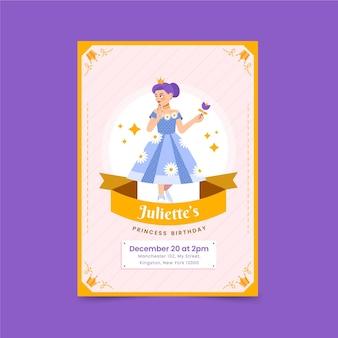 Invitation d'anniversaire princesse design plat