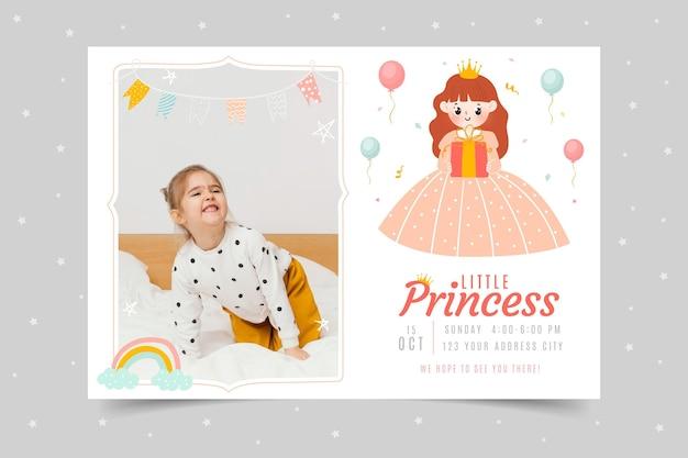 Invitation d'anniversaire princesse dessinée à la main avec photo