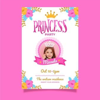 Invitation d'anniversaire princesse dessinée à la main