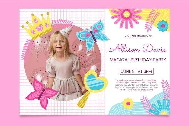 Invitation d'anniversaire princesse plat bio avec photo