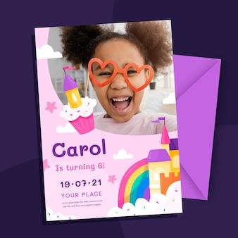Invitation d'anniversaire princesse plate bio avec modèle photo